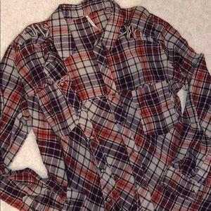 Free People plaid shirt - worn once!